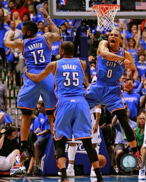 James Harden, Kevin Durant, & Russell Westbrook 2011-12 Action Photo Print - Item # VARPFSAAOY132