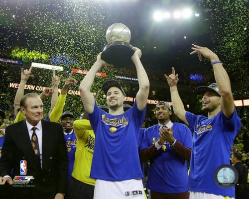 The Golden State Warriors celebrate winning Game 7 of the 2016 Western Conference Finals Photo Print - Item # VARPFSAATB051