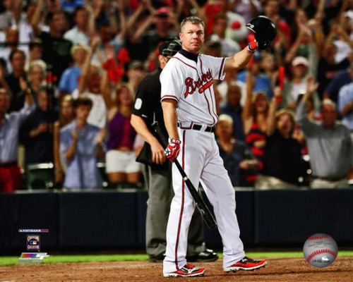 Chipper Jones waves to the crowd before his last at-bat during the 2012 National League Wild Card Game Photo Print - Item # VARPFSAAPG141