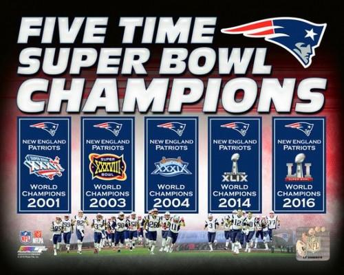 New England Patriots 5 Time Super Bowl Champions Banners Photo Print - Item # VARPFSAATV112
