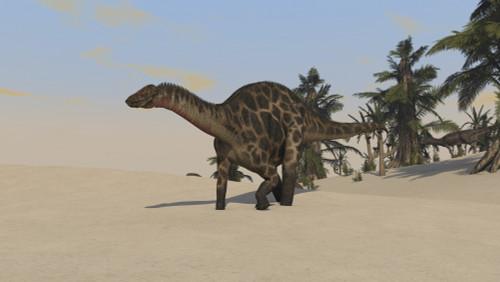 Dicraeosaurus walking across a barren landscape Poster Print - Item # VARPSTKVA600327P