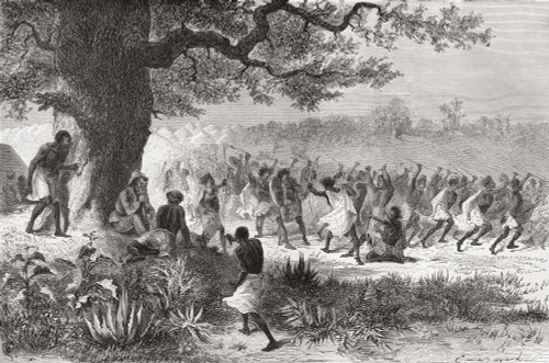 Henry Morton Stanley Watching The Vouagogos Tribe Preparing For Battle, During His Expedition In 1871. From El Mundo En La Mano Published 1878. PosterPrint - Item # VARDPI1903623