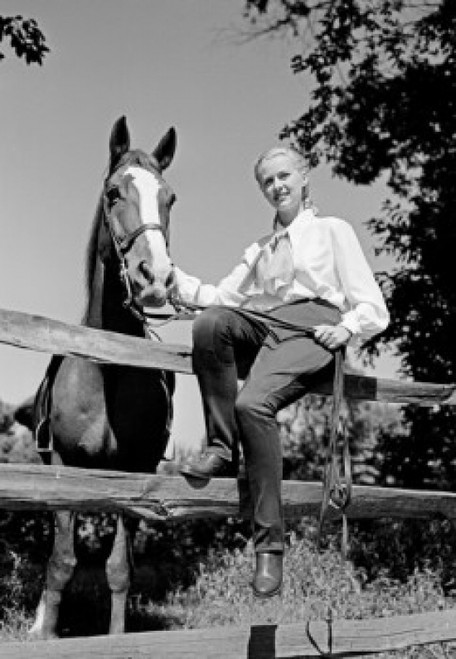 Young woman and horse on farm Poster Print - Item # VARSAL255422307