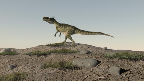 Monolophosaurus walking across an open desert Poster Print - Item # VARPSTKVA600045P