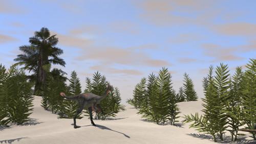 Gigantoraptor in prehistoric environment Poster Print - Item # VARPSTKVA600345P