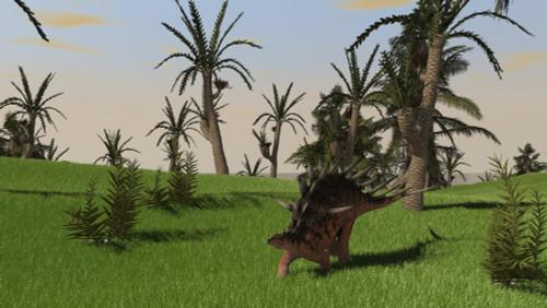 Kentrosaurus walking across an open field Poster Print - Item # VARPSTKVA600339P