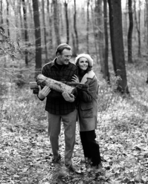 Mature couple in forest  man holding firewood Poster Print - Item # VARSAL25528103B
