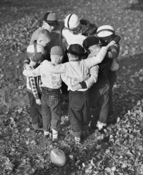 High angle view of boys standing in a huddle Poster Print - Item # VARSAL25550102