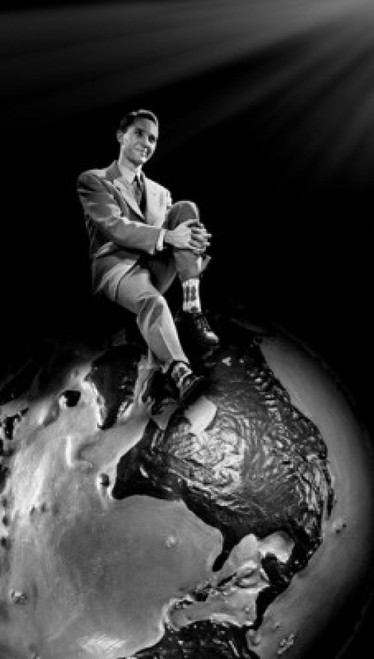 Young man sitting on top of globe Poster Print - Item # VARSAL255417116A