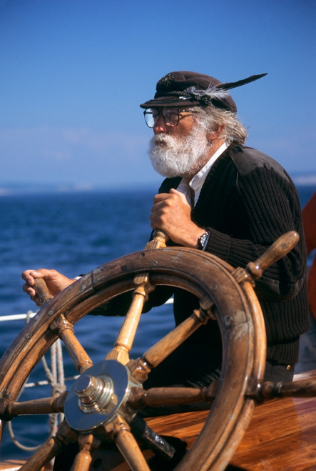 1990s Mature Bearded Man At Wheel Of Ship Poster Print By Vintage Collection - Item # VARPPI176270