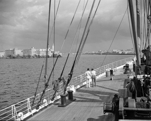 1930s-1940s Two Men On Deck Of Steamer Ship Coming Into Havana Harbor Cuba Poster Print By Vintage Collection (22 X 28) - Item # PPI178648LARGE