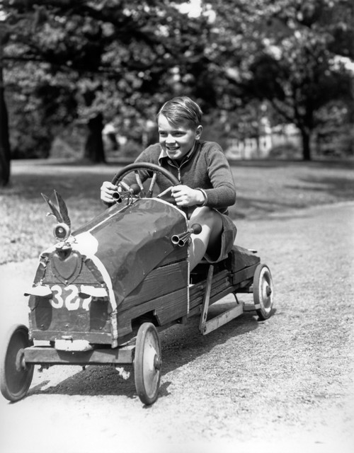 1930s Boy Driving Home Built Race Car Holding Steering Wheel Poster Print By Vintage Collection (22 X 28) - Item # PPI177090LARGE