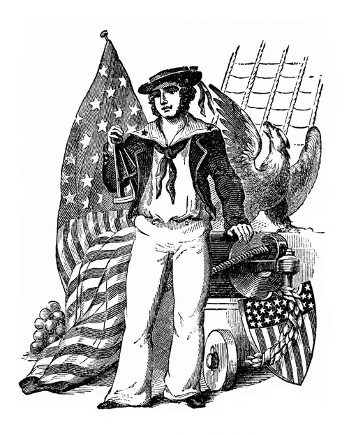 1800s-19Th Century Engraving Of Old Time Sailor Holding Sextant Next To Eagle & American Flag Typical War Of 1812 - Item # VARPPI177588