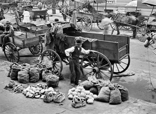 1910 Marketplace With Horse Carts & Vendors Selling Vegetables In Kansas City Mo Usa Print By Vintage Collection - Item # PPI195653LARGE