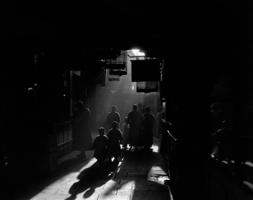 1920s-1930s Silhouetted People Mysterious Orient Dramatic Moody Backlit Street Scene In Old Chinese City Shanghai China - Item # PPI195648LARGE