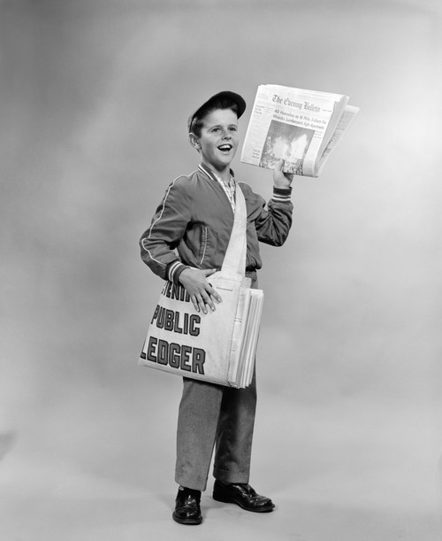 1950s Shouting Newsboy Standing Selling Newspapers Poster Print By Vintage Collection (32 X 36) - Item # PPI176480LARGE