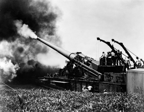 1940s Wwii Big Artillery Railroad Gun Firing Poster Print By Vintage Collection (22 X 28) - Item # PPI176447LARGE