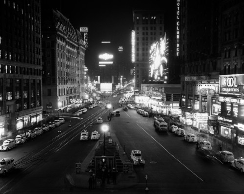 1930s Overhead Of Times Square Lit Up At Night With Cars Lining Curbs Nyc Ny Usa Print By Vintage Collection - Item # PPI178991LARGE