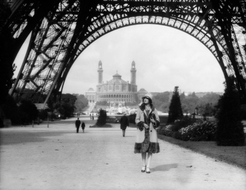 1920s Woman Walking Under The Eiffel Tower With The Trocadero In Background Paris France Print By Vintage Collection - Item # VARPPI172445