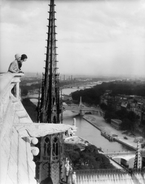 1920s Two Women Looking Out From Top Of Notre Dame Cathedral Paris France Poster Print By Vintage Collection (22 X 28) - Item # PPI178986LARGE