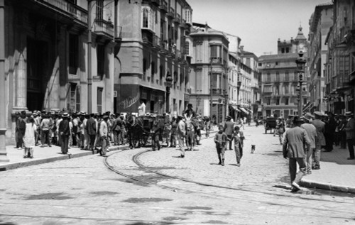 1920s-1930s Street Scene With Crowd In Front Of Hotel Regina Malaga Spain Poster Print By Vintage Collection - Item # VARPPI195994