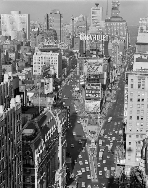 1950s Elevated View New York City Times Square Traffic Looking North To Duffy Square Nyc Ny Usa Print By Vintage - Item # VARPPI178786