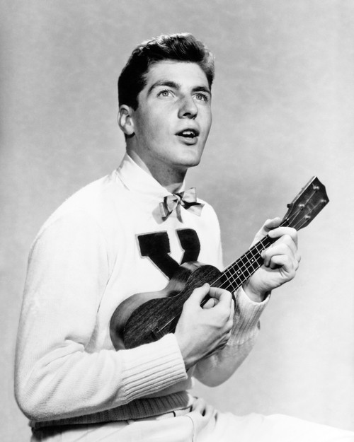 1940s-1950s College Boy Wearing X Letter Sweater Singing And Playing Ukulele Print By Vintage Collection - Item # VARPPI177507