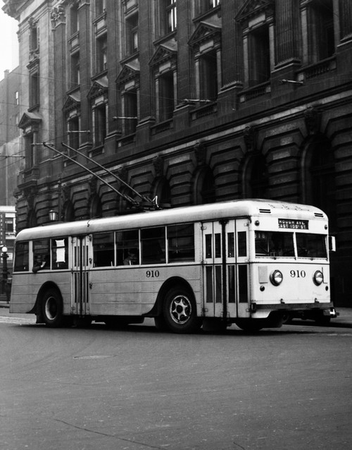1930s-1940s Public Transportation Trackless Trolley Electric Bus About To Round Street Corner Cleveland Ohio Usa Print - Item # PPI178502LARGE