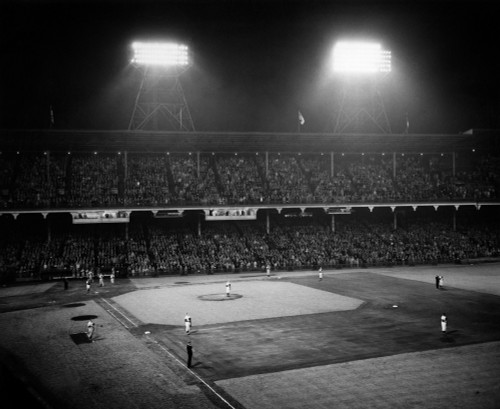 1940s-1947 Baseball Night Game Under The Lights Players Standing For National Anthem Ebbets Field Brooklyn New York Usa - Item # PPI178536LARGE