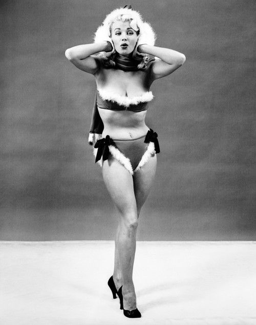 1950s Young Woman Standing Inside Wearing Fur Trimmed Bikini And Gloves Poster Print By Vintage Collection - Item # VARPPI176978