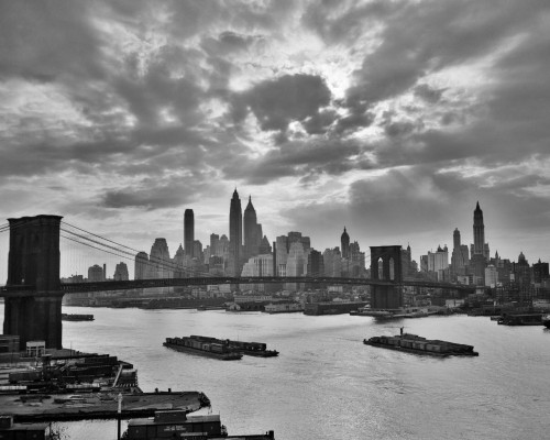 1940s-1950s Dramatic Sunset Downtown New York City Skyline With Brooklyn Bridge Barges In East River Nyc Ny Usa Print By - Item # PPI180013LARGE