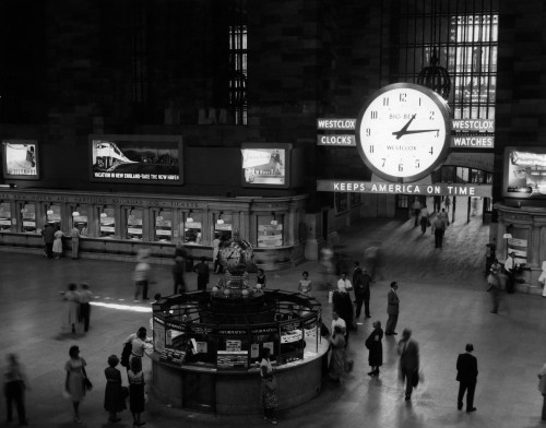 1950s-1959 Grand Central Passenger Railroad Station Main Hall Information Booth And Train Ticket Windows Nyc Ny Usa - Item # PPI178126LARGE
