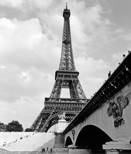1920s Eiffel Tower With People Walking Up Stairs & Standing On Bridge In Foreground Print By Vintage Collection - Item # PPI178892LARGE