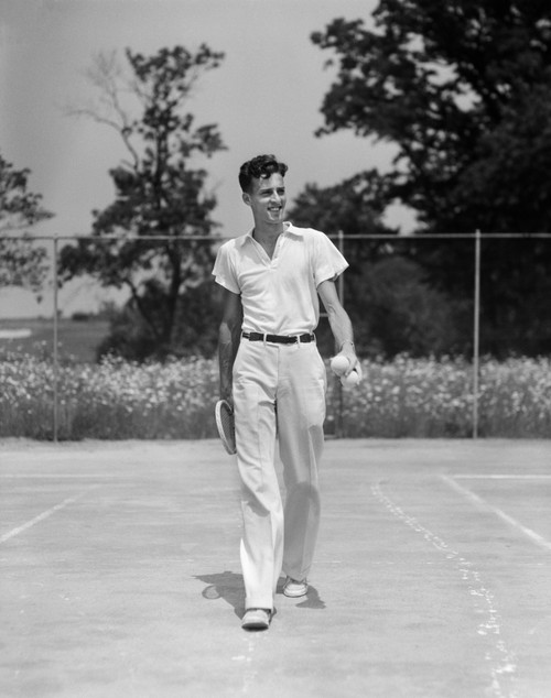 1930s Man Walking Across Tennis Court Holding Tennis Racket & Balls Poster Print By Vintage Collection - Item # VARPPI179592