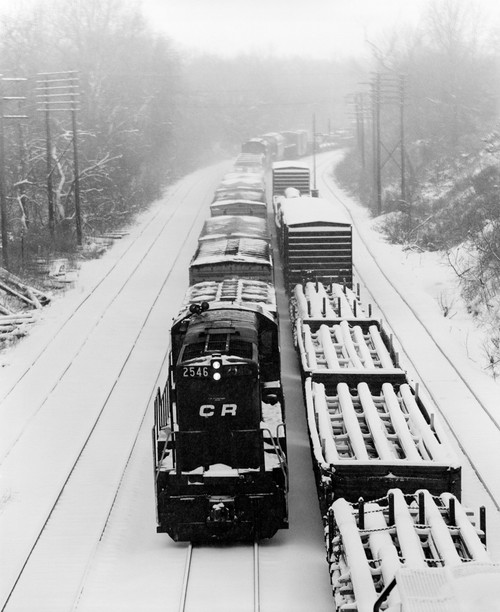 1970s Pair Of Freight Trains Traveling On Snow Covered Railroad Tracks Poster Print By Vintage Collection (32 X 36) - Item # PPI178911LARGE