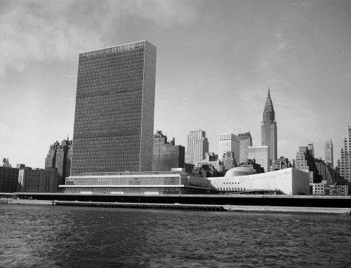 1950s View Of United Nations Building And New York City Skyline From East River New York Usa Print By Vintage Collection - Item # PPI178992LARGE