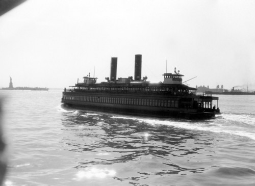 1930s Ferry Boat With Two Smoke Stacks Viewed From The Stern Statue Of Liberty On Horizon New York City Harbor Usa Print - Item # PPI178617LARGE