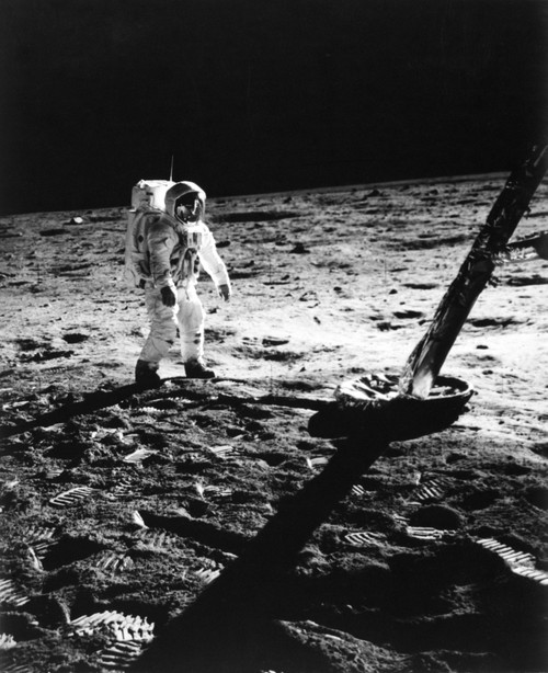1960s Astronaut Buzz Aldrin In Space Suit Walking On The Moon Near The Apollo 11 Lunar Module July 20, 1969 Print By - Item # VARPPI176587