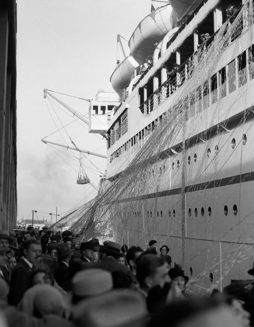 1930s Crowd Of People On Pier Wishing Bon Voyage To Sailing Traveling Passengers On Ocean Liner Cruise Ship Print By - Item # PPI177629LARGE