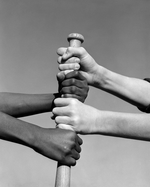 1960s African American And Caucasian Boys Hands Gripping Baseball Bat Choosing Sides Print By Vintage Collection - Item # VARPPI179334