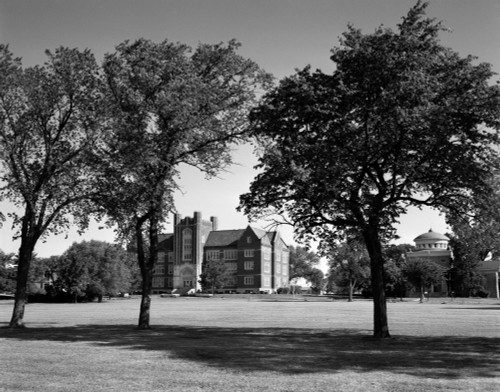 1970s Campus Of Emporia College In Kansas With Brick Buildings Nestled Among Trees Print By Vintage Collection - Item # PPI179345LARGE