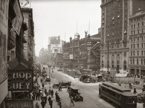 1920s Overhead Sixth Avenue Hippodrome Theater Car & Pedestrian Traffic Workers Digging Subway New York City Ny Usa - Item # PPI195825LARGE