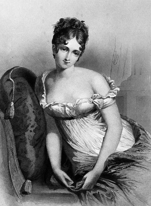 1800s Madame Recamier The Most Beautiful Woman In Europe Wearing Empire Waist Dress Showing Bare Shoulders Print By - Item # VARPPI176577