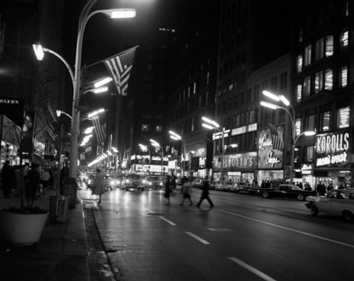 1960s-1963 Night Scene Of Busy Traffic On State Street Chicago Illinois Usa Poster Print By Vintage Collection (22 X 28) - Item # PPI178214LARGE