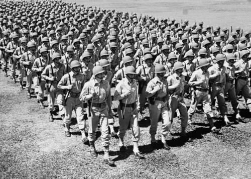 1940s Ranks And Files Rows Of World War Two Us Army Infantrymen Marching Poster Print By Vintage Collection (24 X 36) - Item # PPI176495LARGE