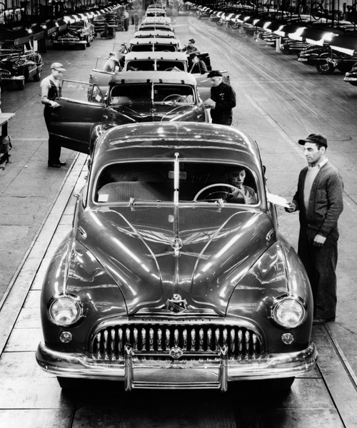 1950s Head-On View Buick Automobile Assembly Line Detroit Michigan Usa Poster Print By Vintage Collection (32 X 36) - Item # PPI178446LARGE