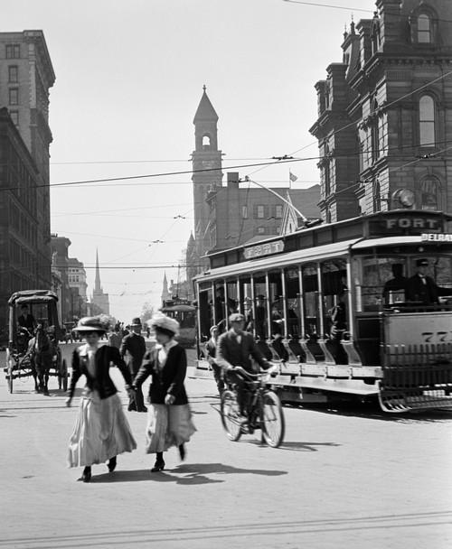 1900s-1910s-1912 Street Scene Pedestrians & Streetcar Detroit Michigan Usa Poster Print By Vintage Collection - Item # VARPPI195754