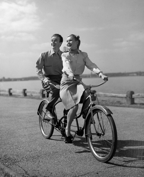 1950s Smiling Happy Couple Man Woman Riding Tandem Bicycle Built For Two Poster Print By Vintage Collection - Item # VARPPI177064