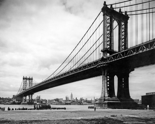 1930s View Of Manhattan Bridge Across East River From Brooklyn New York City Ny Usa Print By Vintage Collection - Item # PPI195713LARGE