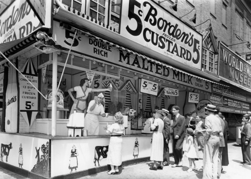 1930s Bordens 5 Cent Frozen Custard Cone Stand On Coney Island New York City Ny Usa Print By Vintage Collection - Item # PPI178470LARGE